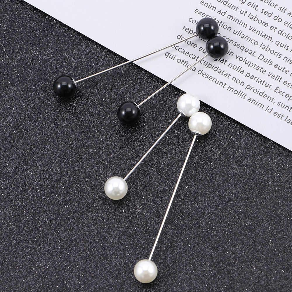 Pratico di Fascino Doppio-Headed Spilla di Perle Imitazione Perla Bastone Spille Sciarpa di Sicurezza Spille Maglione Spilla Accessori