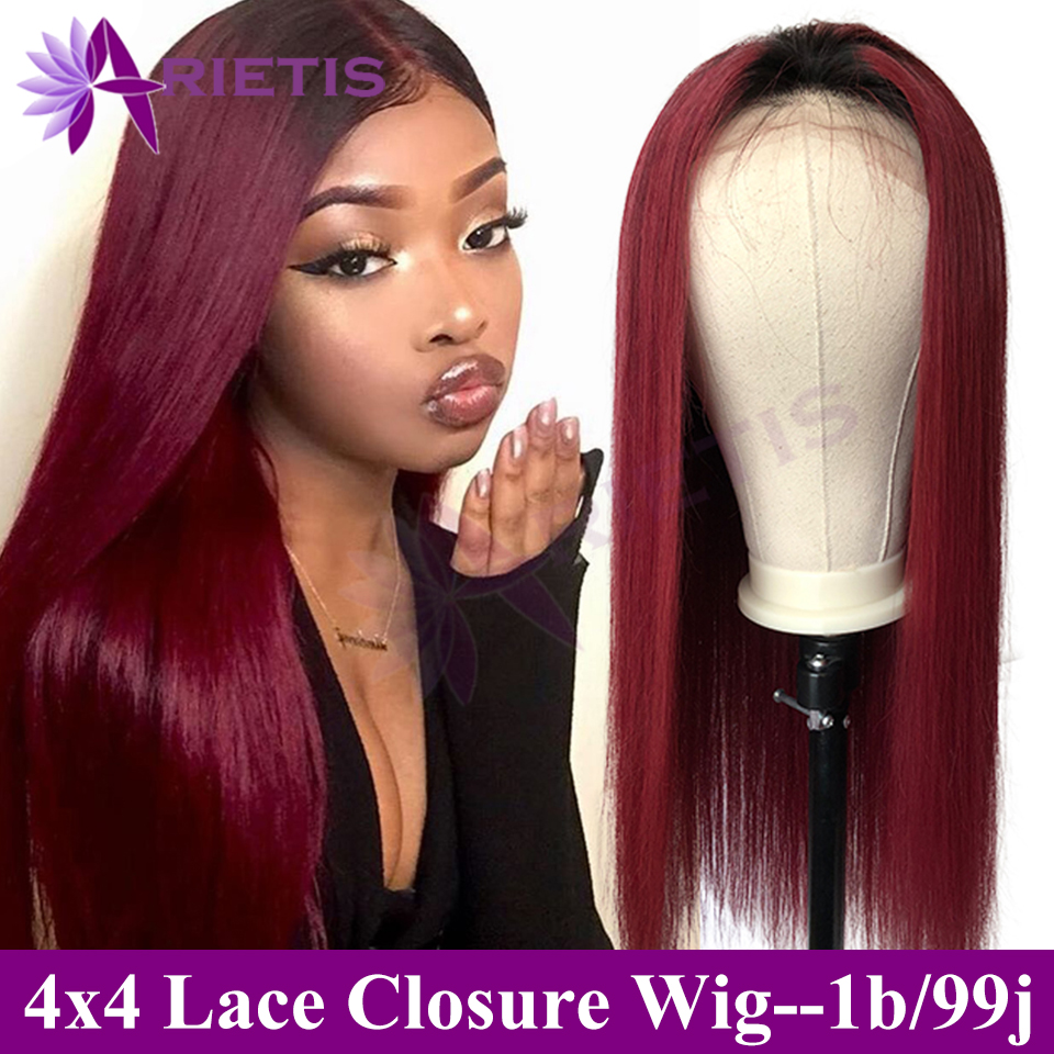 Arietis 4x4 Lace Closure Wigs Human Hair Brazilian 1b/99j Lace Wigs For Black Women Pre Plucked With Baby Hair 1B/27/30 Hair Wig