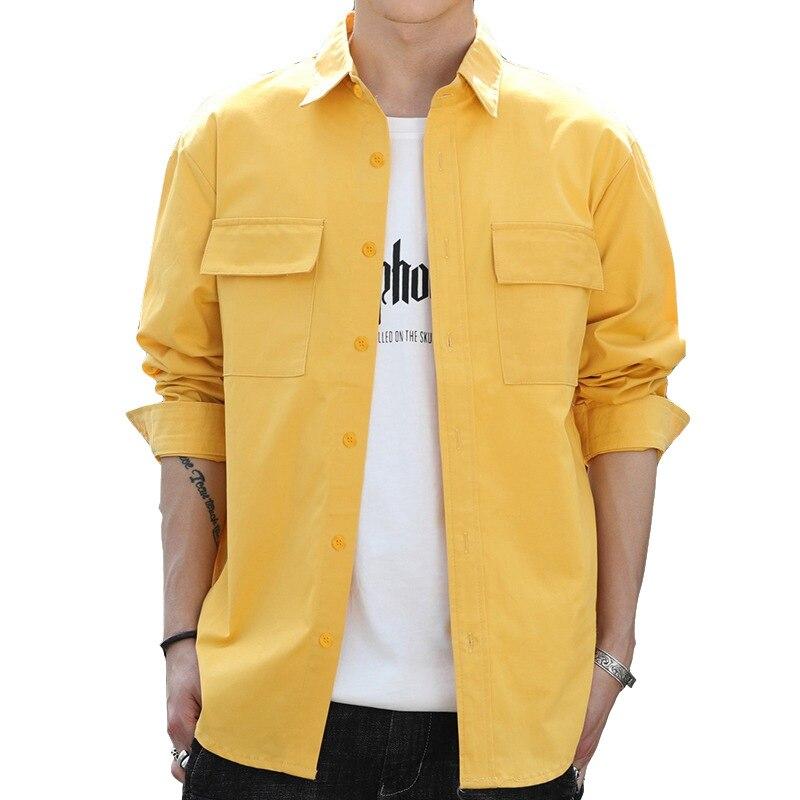 2020 Spring Shirts Men Camisa Masculina Slim Fashion Man Shirt Brand Casual Long-Sleeved Chemise Homme Men Basic Cargo Shirts