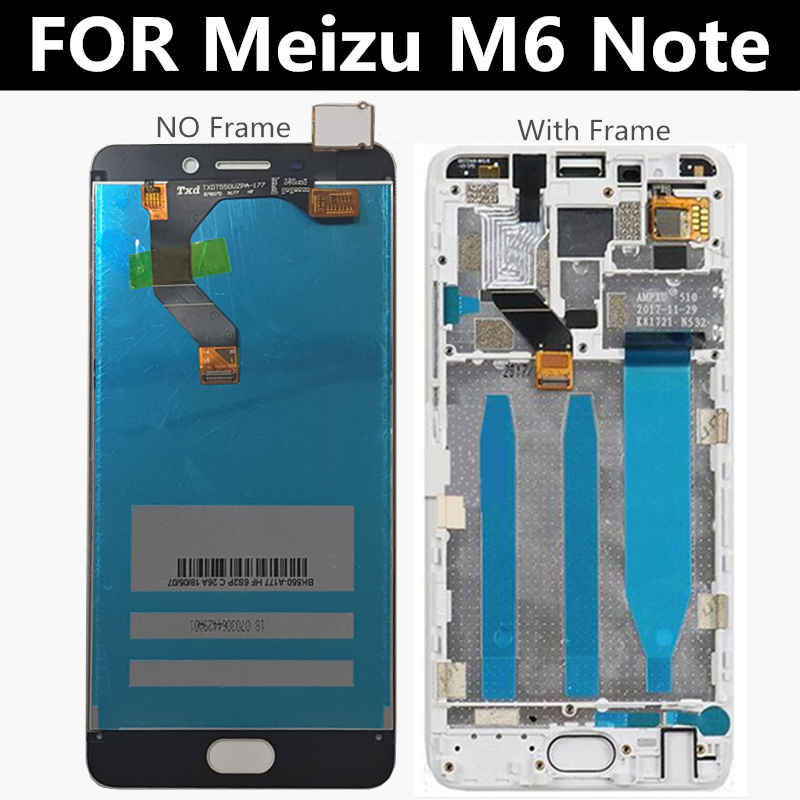 LCD de 5,5 pulgadas con marco para Meizu M6 Note Digitalizador de Panel táctil de pantalla LCD para Meizu Meilan Note 6 m721h pantalla Lcd