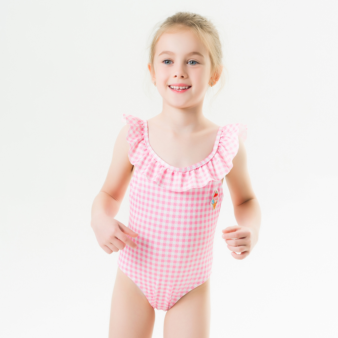 2020 New Baby Girl Swimsuit One Piece Swimwear Classic Style Bodysuit Pink Geometric Swimsuit For Girl Ice-cream Bathing Suit