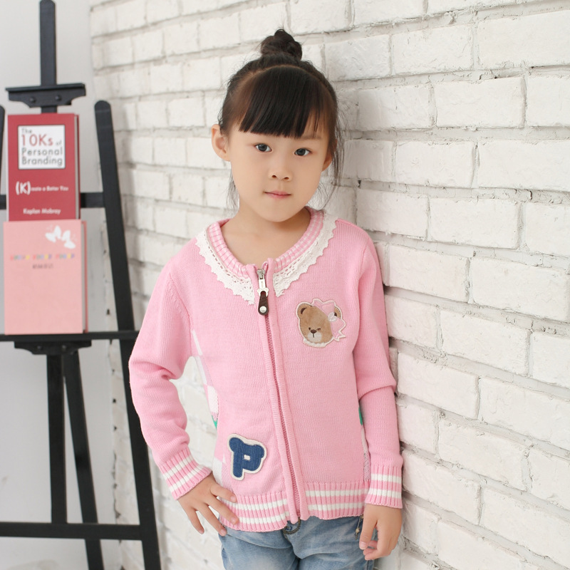 Childrenswear New Style Korean-style Girls Jacquard Joint Pure Cotton Wire Zipper Cardigan Sweater ()