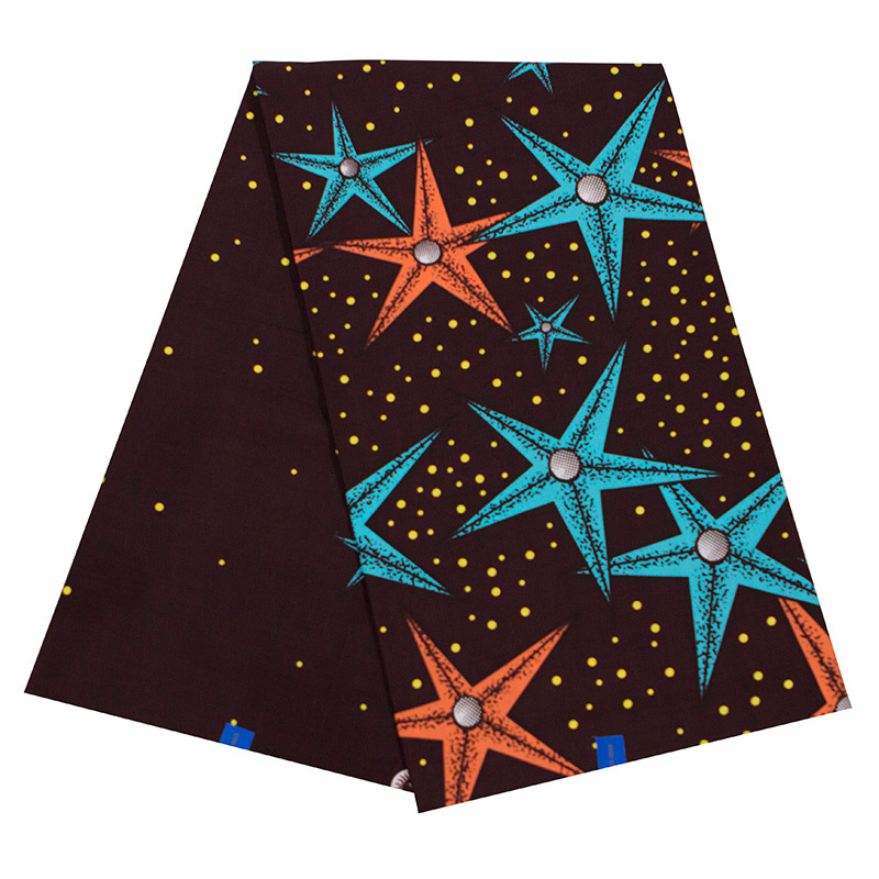 New African Fabric Pure Cotton Blue And Orange Sea Star Print Pagnes Africain Wax Fabric For Dress