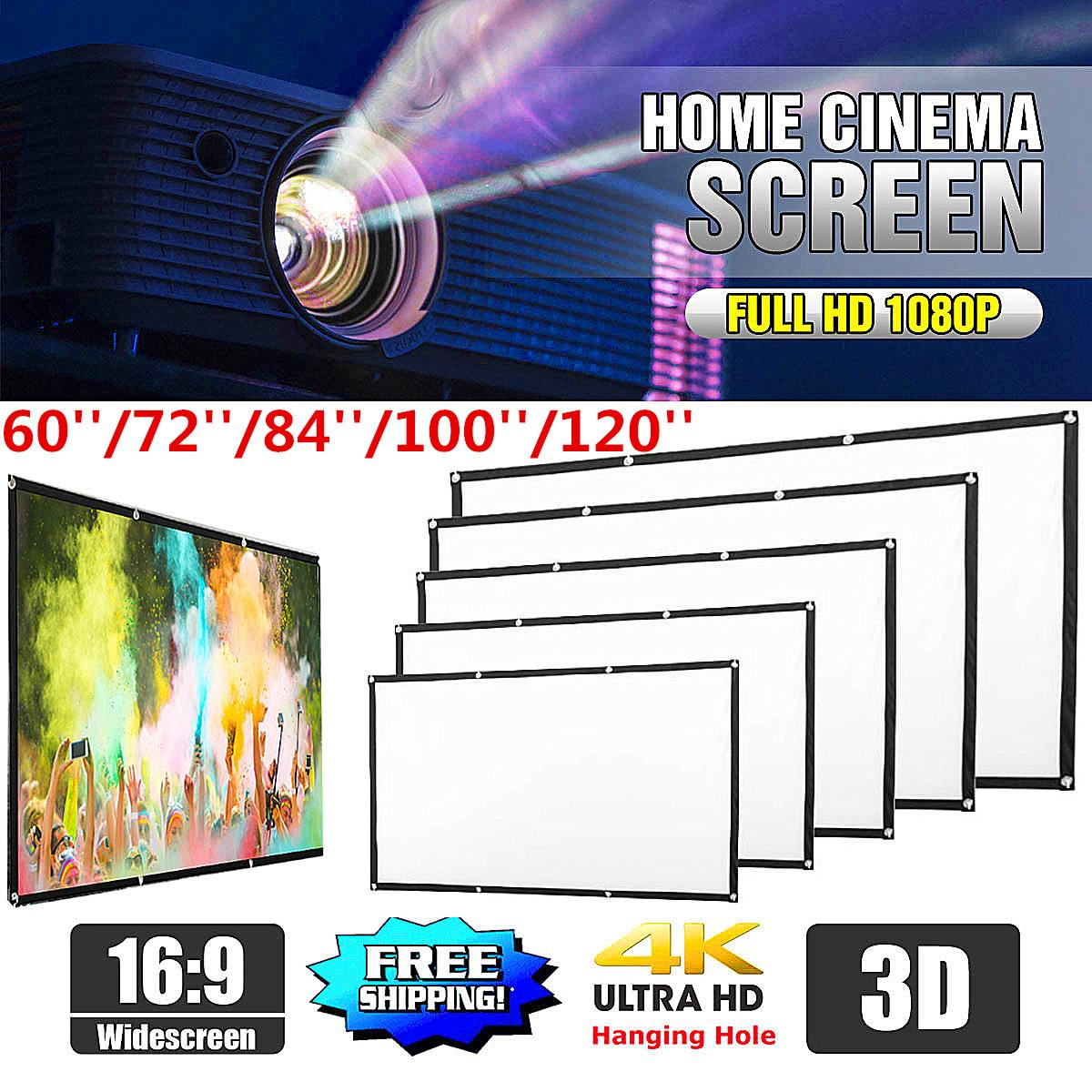 Soft 16  9 Projection Screen Cloth 4K 3D HD Projector Movie Outdoor Screen 60 72 84 100 120inch Foldable for Home Camping Film