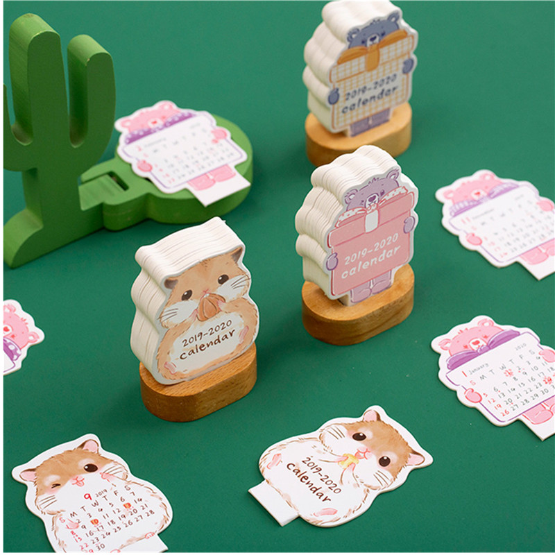 2020 New Year Calendar Lovely Little Mouse Bear Mini Plug-in Desk Calendars Office School Supplies 2019.09-2020.12