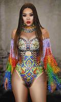 High Quality Multi color rhinestone fringe bodysuit sexy crystals leotard dance costume tassel outfit women Bodysuit