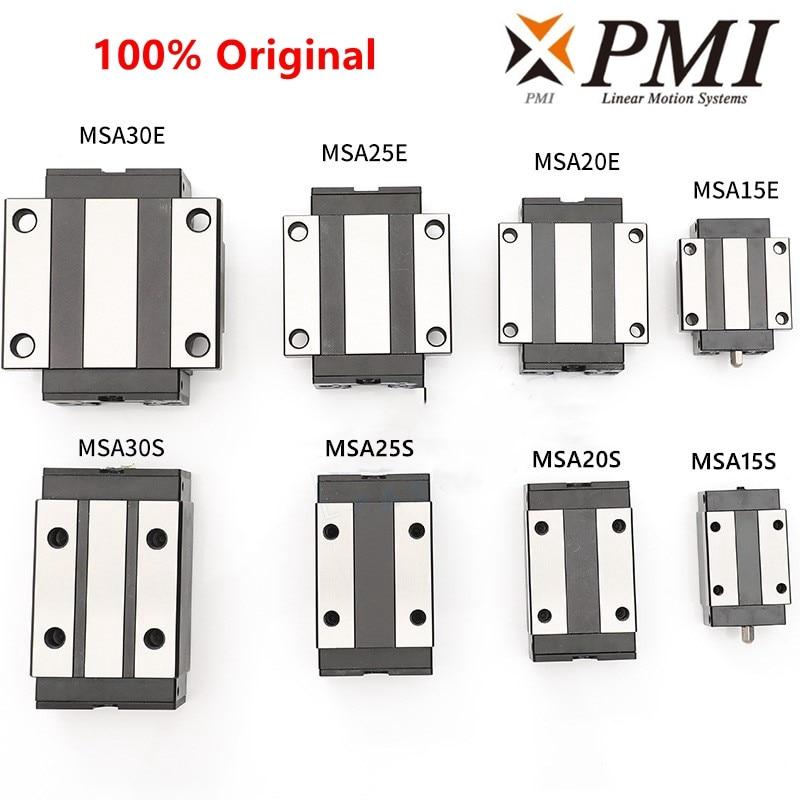 Original Taiwan PMI Linear Guideway Slider Carriage Block MSB/MSA/15/20/25/30/35/45/S/E/LS/LE-N For CO2 Laser Machine CNC Router