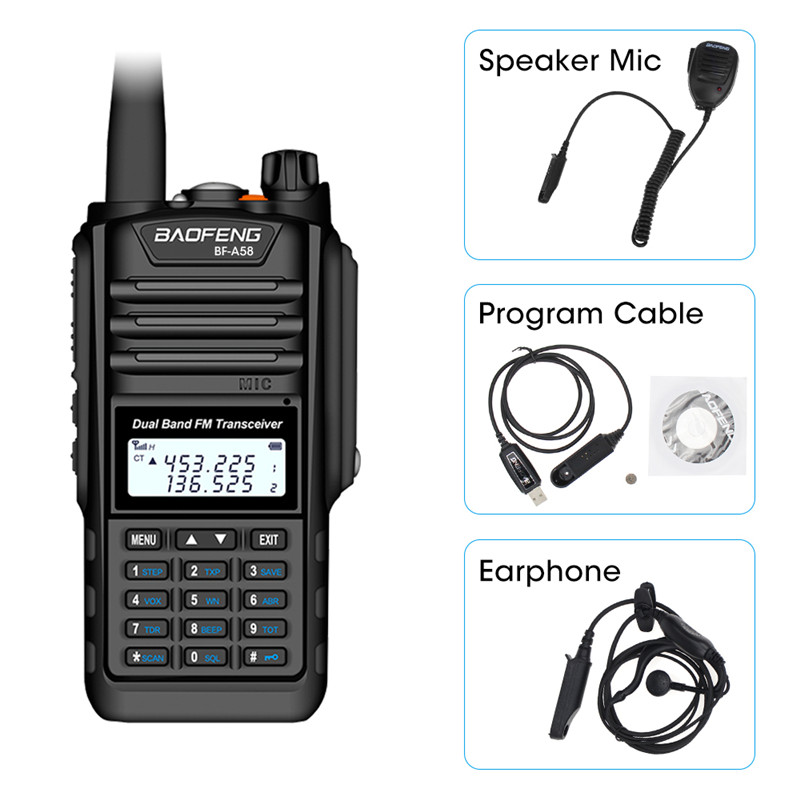 Baofeng BF-A58 Waterproof Two Way Radio Dual Band UHF VHF 5W CB Ham Radio LCD Display FM Transceiver 128CH Scanner Woki Toki