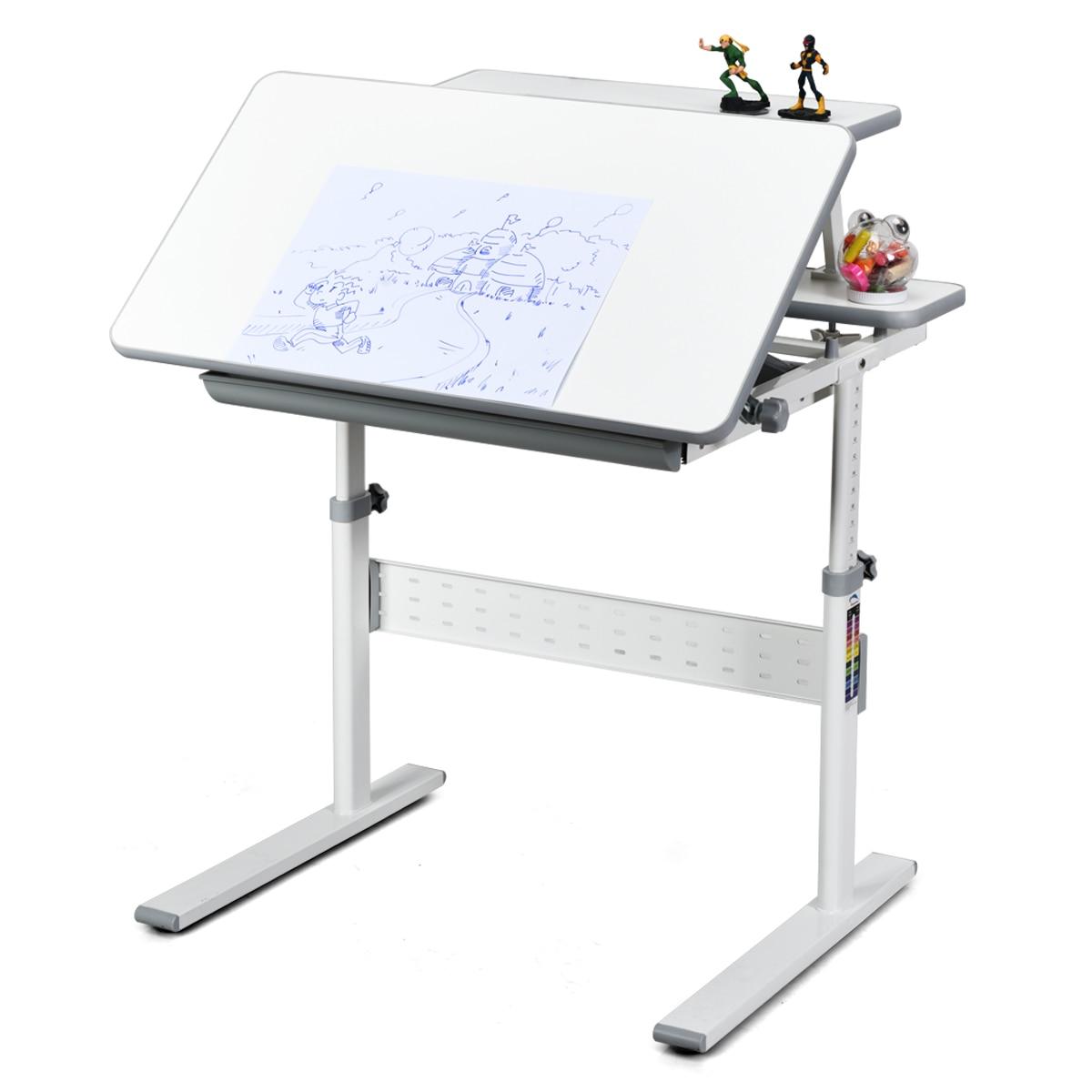 Children's Study Table Adjustable Home Writing Desk Tilting Desktop Bookstand