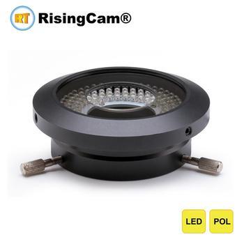 Jasność regulowany mikroskop polaryzacyjny lampa pierścieniowa LED na mikroskop stereo spolaryzowany pierścień LED illminator tanie i dobre opinie RisingCam POL62 NONE Mikroskop Illuminators 62mm White 120pcs 6500-7000K 0-100 30000 Hours 40-120mm AC 110v or 220v Black oxide aluminum