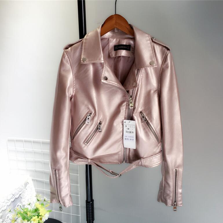 2019 Autumn new metal light-colored short paragraph machine wagon jacket PU   leather   jacket collar suit woman w856