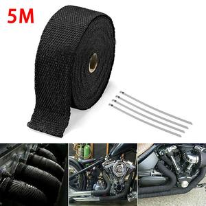 5M Roll Fiberglass Heat Shield Motorcycle Exhaust Header Pipe Heat Wrap Tape Thermal Protection+ 4 Ties Kit Exhaust Pipe Insulat(China)