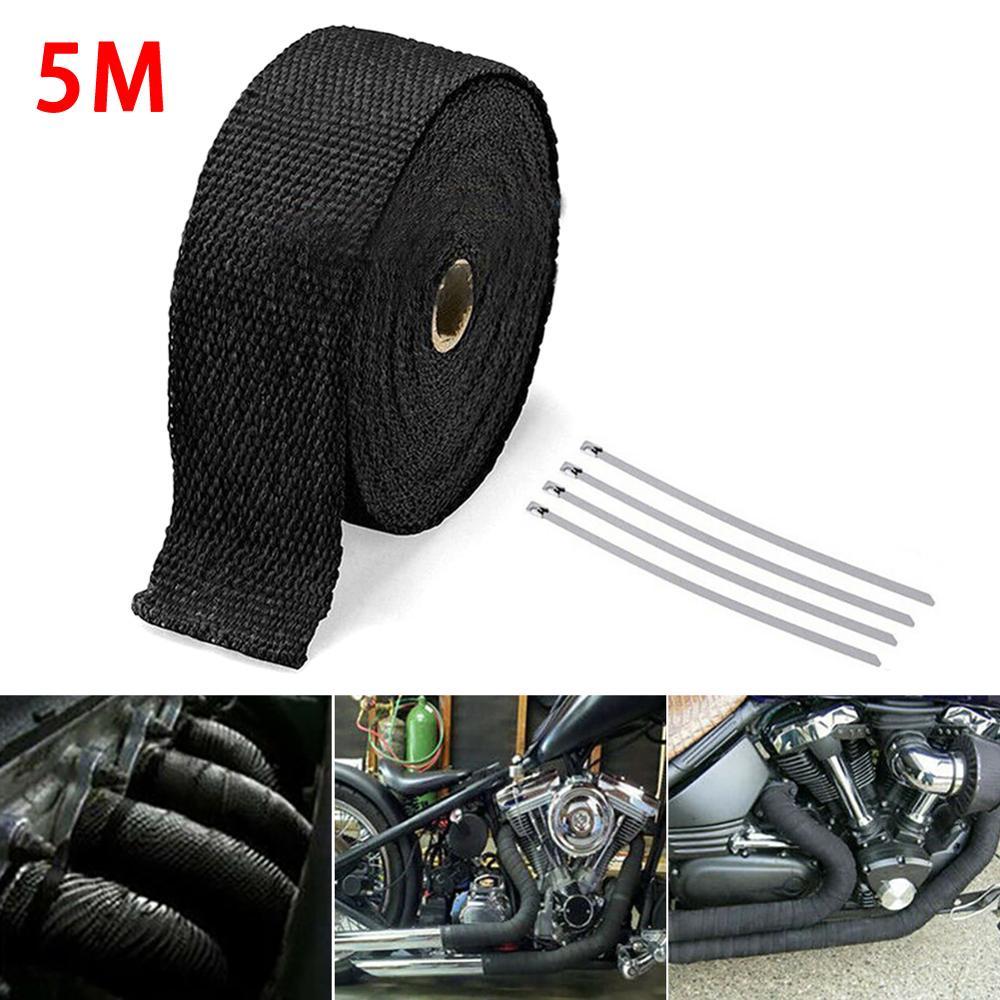 5M rouleau fibre de verre bouclier thermique moto échappement tuyau ruban adhésif Protection thermique + 4 attaches Kit tuyau d'échappement Insulat