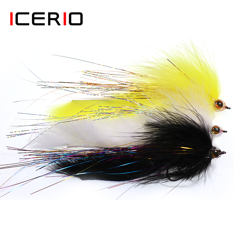 ICERIO 3PCS Saltwater Fishing Bunny Tail Streamer Pike Musky Steelhead Fly Bass Sea Trout Fishing Fly Lure 2/0