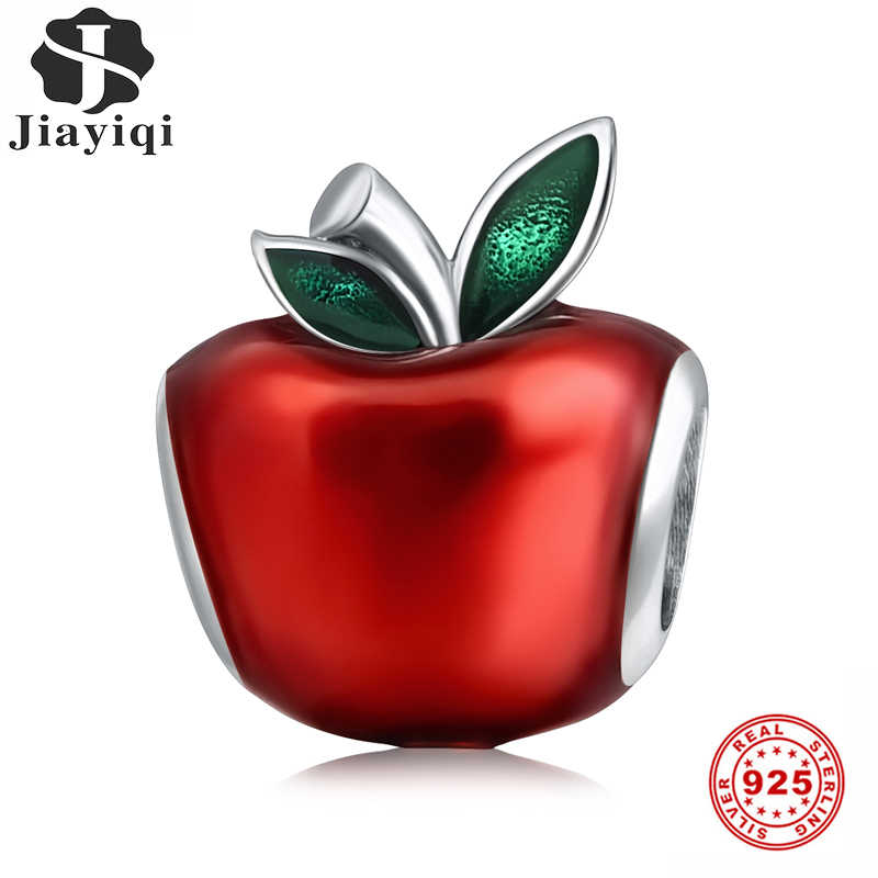 Jiayiqi 925 Sterling Silver Red Enamel Apple Charms Beads Fit Pandora Charms Silver 925 Original DIY Christmas Jewelry Gift