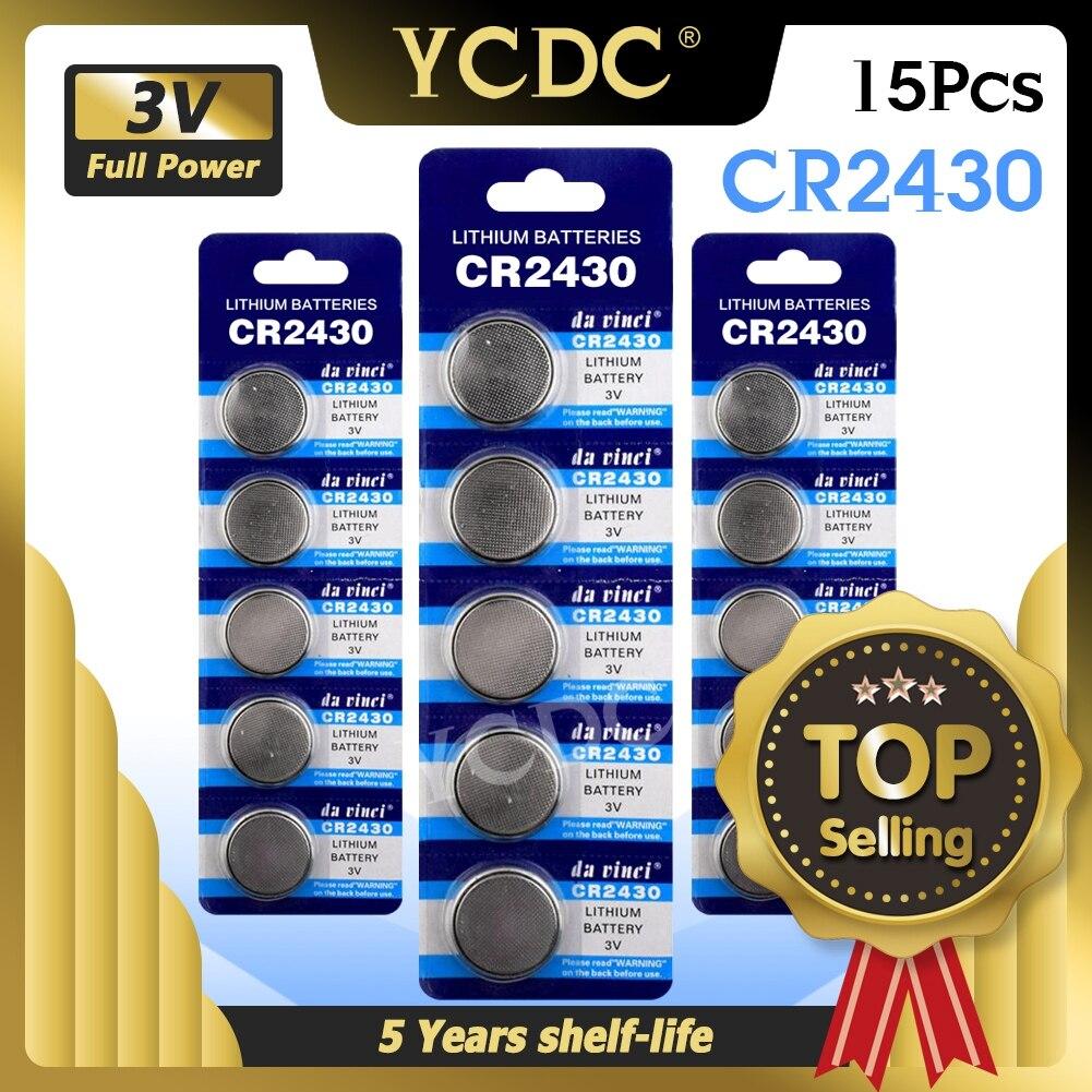 CR2430 кнопочный аккумулятор 3 в, электронные литиевые батареи для монет DL2430 BR2430 ECR2430 KL2430 EE6229, часы, игрушки, наушники, 15 шт.