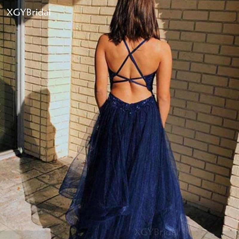 New Arrival Elegant Evening Dresses Lace Halter Sleeveless Tulle Prom Gowns Criss-Cross Back Formal Woman Abendkleider Plus Size