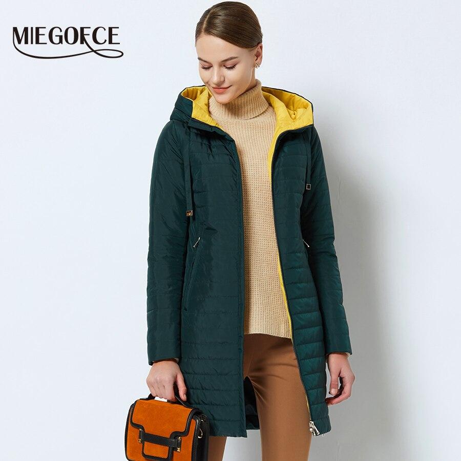 MIEGOFCE 2019 nouvelle Collection de printemps de vestes printemps femmes Parka veste chaude avec une capuche haute qualité femmes mince Parka manteau