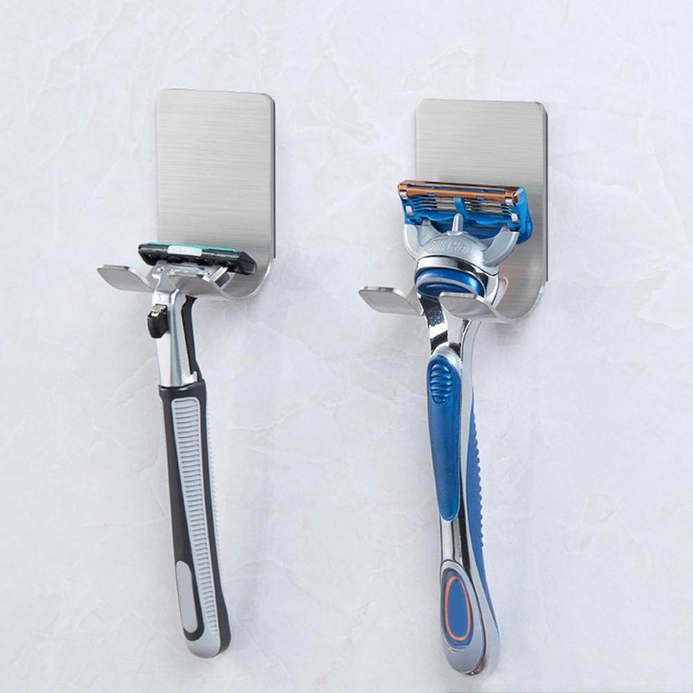 1 PCS New Men Shaving Shaver Shelf 304 Stainless Steel Razor Holder Shaving Razor Rack Hanger Bathroom Viscose Razor Hook 40P