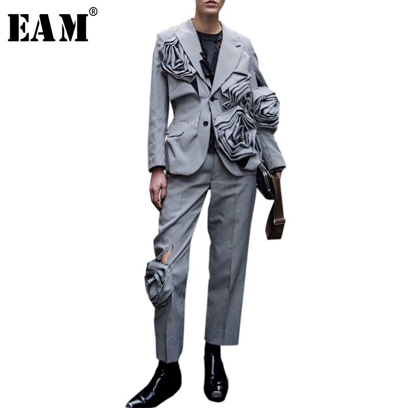 [EAM] High Elastic Waist Black Flower Hollow Out Trousers New Loose Fit Harem Pants Women Fashion Tide Spring Autumn 2020 1A348