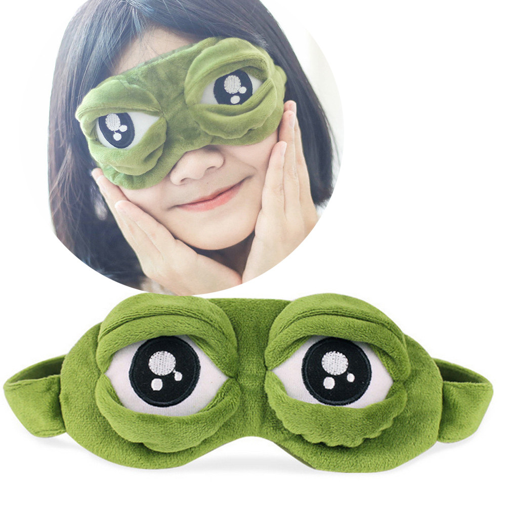 Cute Eyes Mask Cover Plush The Sad 3D Frog Green Eye Mask Cover Relax Sleeping Rest Travel Sleep Anime Funny Gift Beauty D2