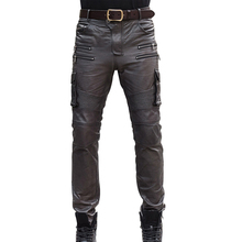 Mens Autumn Winter Sheepskin Real Lether Pencil Pants Multi Pocket Tactical Pants Leather Motorcycle Slim Fit Long Trousers 36