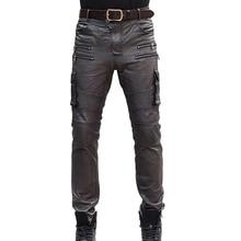 Mens Autunno Inverno Pelle Di Pecora Vera Lether Matita Pantaloni Pantaloni Multi Tasca Pantaloni Tattici di Cuoio del Motociclo Slim Fit Pantaloni Lunghi 36