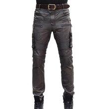 Mens סתיו חורף עור כבש אמיתי Lether מכנסי עיפרון רב כיס טקטי מכנסיים עור אופנוע Slim Fit ארוך מכנסיים 36