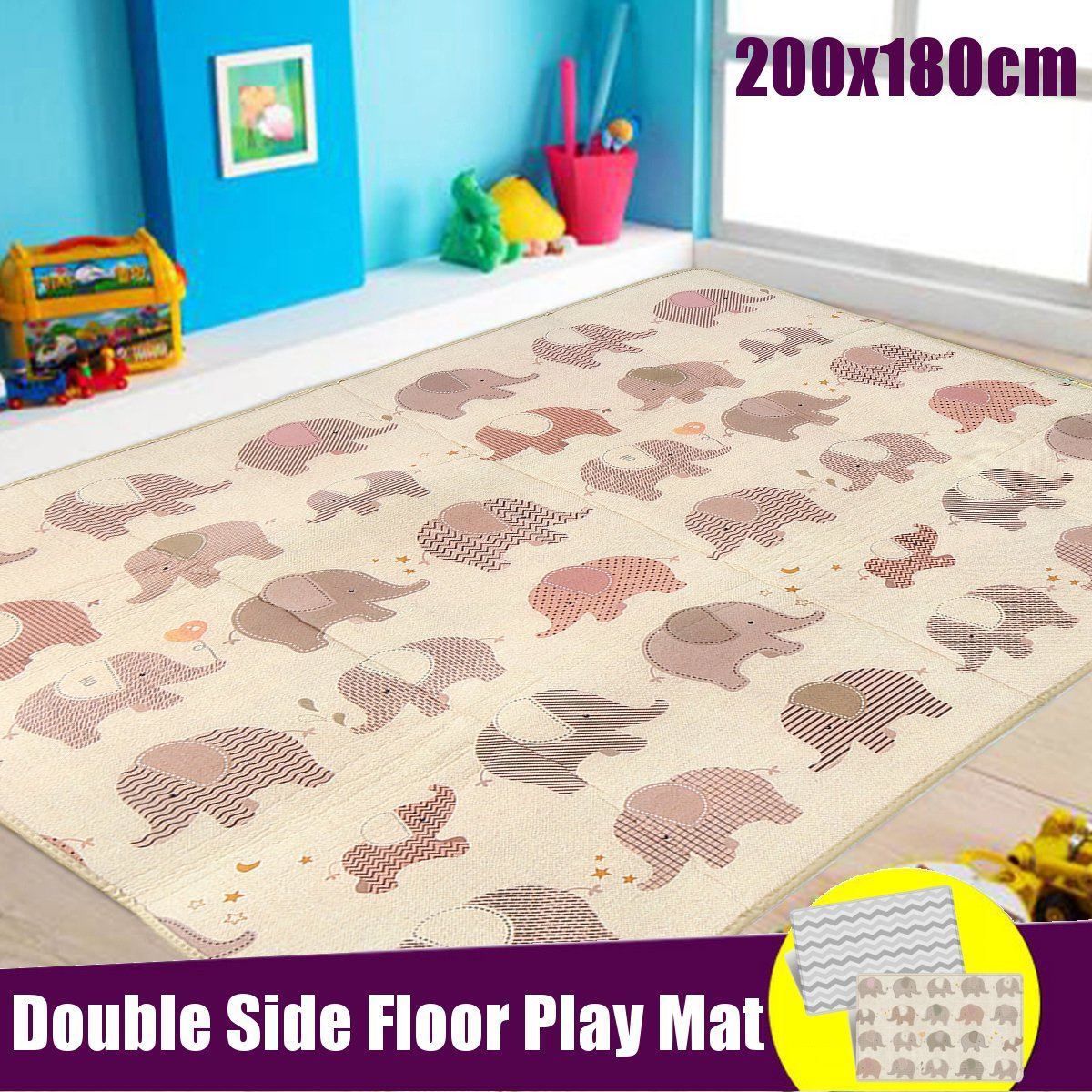 200x180cm Foldable Cartoon Baby Play Mat Thick Crawling Cover Game Mat Carpet LDPE Waterproof Parlor Floor Climbing Game Blanket