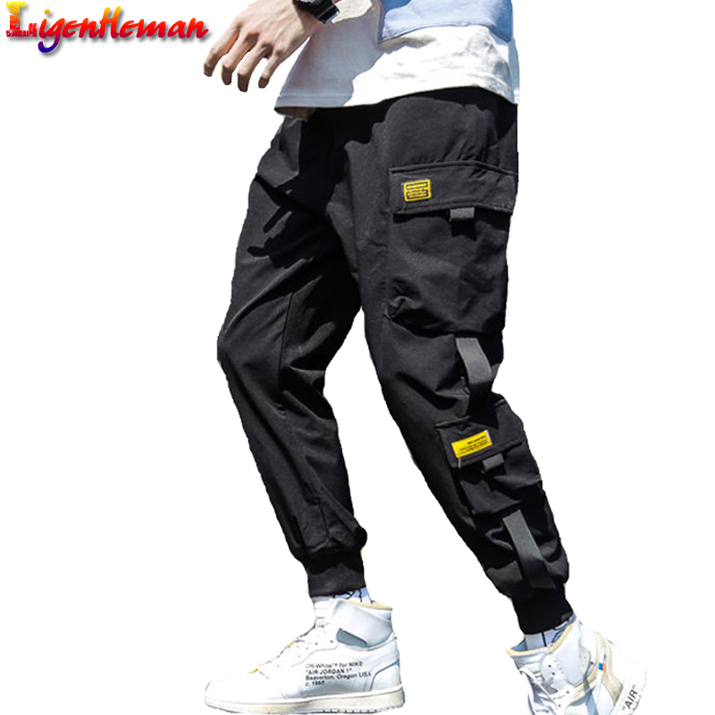 Men Pants Streetwear Slim Black Multi-Pocket Casual Hip-Hop Ribbons M-3xl-Spring Man
