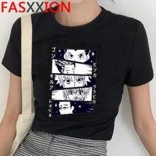 Camisa de manga curta dos homens do caçador x do kawaii da luva curta killua zoldyck camiseta da tripulação do pescoço de hisoka anime manga t camisa hip hop