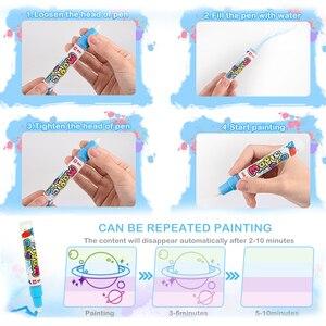 Image 4 - 110x78cm büyük boy boyama su çizim matı boyama yazı Mat Doodle sihirli kalem ile çocuklar için eğitici oyuncaklar halı hediye