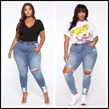 2020 nova mulher plus size jeans moda rasgado magro denim lápis calças casuais estiramento jeans L-4XL transporte da gota global