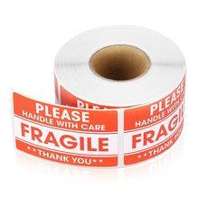 100/200 Uds pegatinas frágiles por favor con cuidado gracias etiquetas de advertencia para productos de decoración