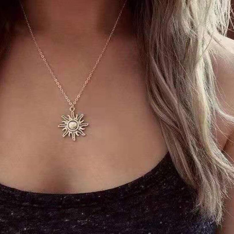 Simple Necklace for Women Men gift Vintage Alloy Sun Pendant Long Cross Chain Necklaces Minimalist Jewelry Wholesale New hot