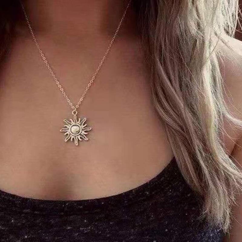 Simple Necklace for Women Men gift Vintage Alloy Sun Pendant Long Cross Chain Necklaces Minimalist Jewelry Wholesale New hot