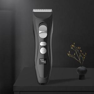 Image 4 - Profesyonel şarj edilebilir elektrikli saç kesme makinesi titanyum kafa berber saç düzeltici erkekler için akıllı LCD ekran saç kesme makinesi
