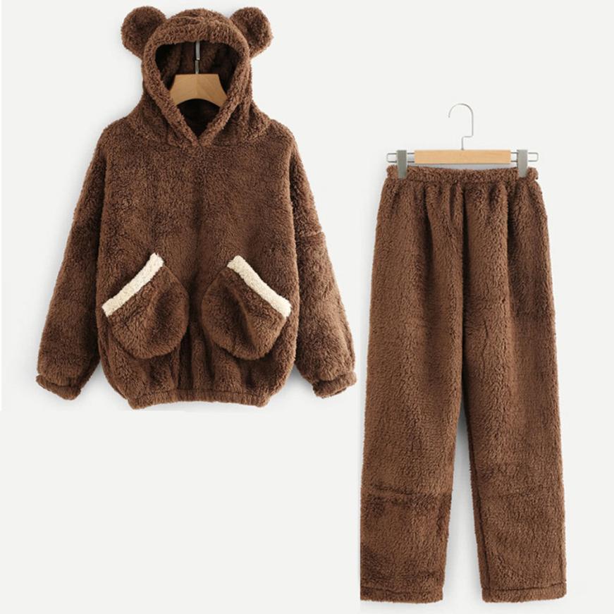 Winter Pajamas Set Women Warm Sexy Pyjama Cute Bear Animal Plush Homewear Hoodie Femme Sleepwear 2019 New Sleep Tops Clothes
