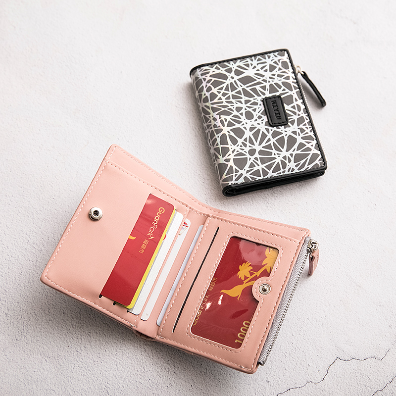 2020 New women's wallet small print fold wallet zipper short ladies money bag functional card holder coin purse carteira feminin