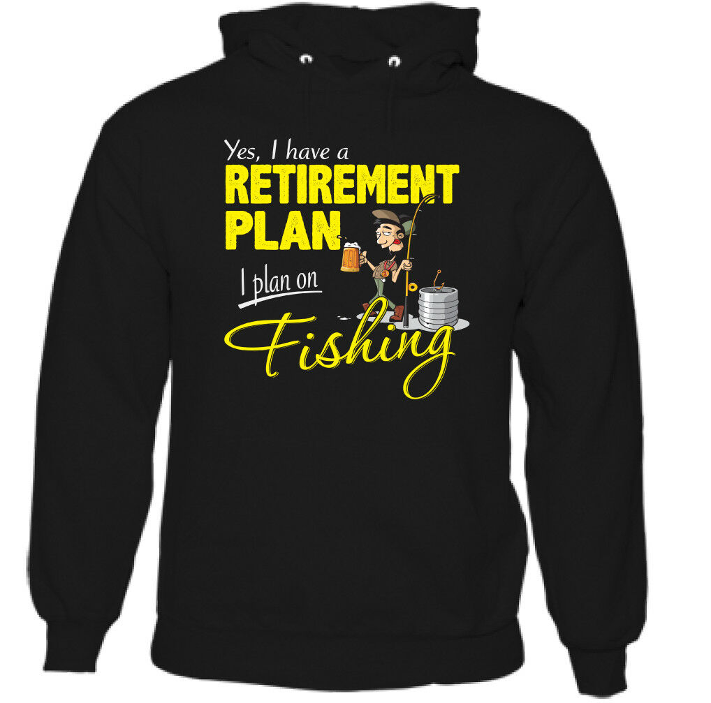 Fishing Retirement Plan Mens Funny Angling Hoodie Fisherman Angler Fish Sea Rod image