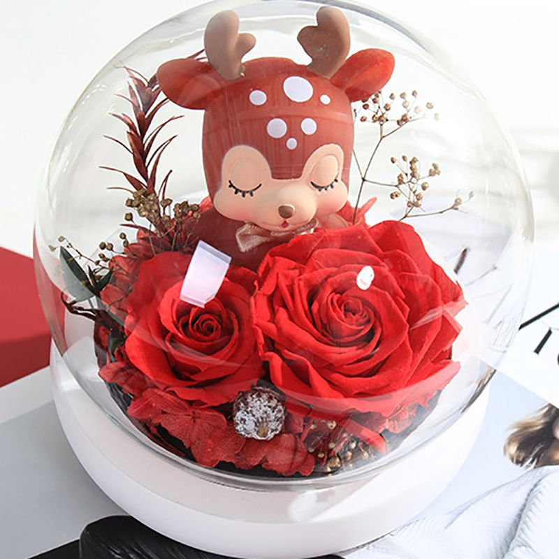 Fawn Eternal Flower Rose Eternal Flower Glass Cover Gift Box Decoration Valentine's Day Creative Gift Wedding Decoration!
