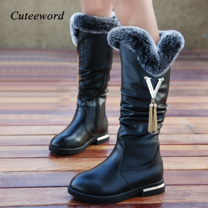 Winter Boots For Girls Genuine Leather Boots Plus Velvet Warm Kids Cotton Shoes Fashion Tassel Knee-high Boots Children Shoes