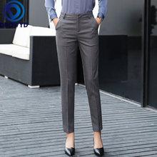 Женские узкие брюки серого цвета модные элегантные для офиса