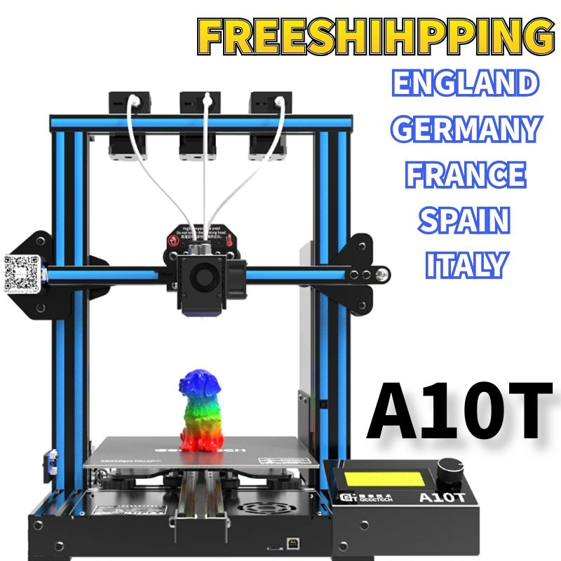 Geeetech 3D Printer A10T 3 In 1 Out Mixed Property Upgrade GT2560 V4.0 Controlboard Open Source 220x220x250mm LCD2004 FDM CE