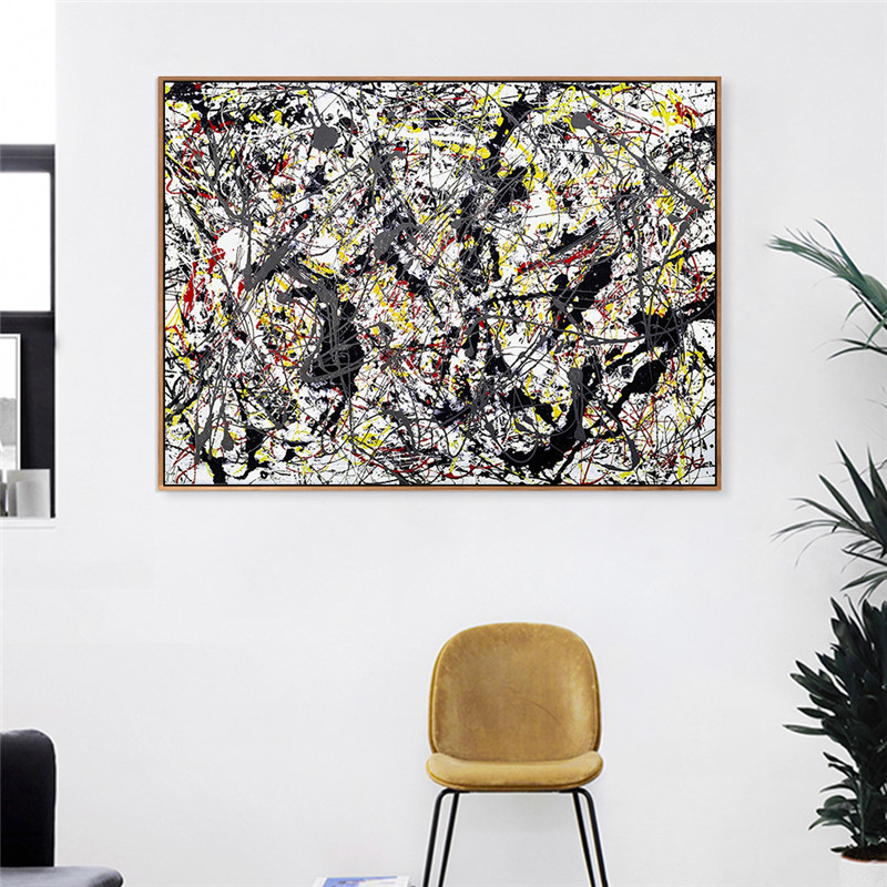 Compre Prata Sobre Preto Branco Amarelo E Vermelho Por Jackson Pollock Art Gallery Pintura Abstrata Pintura A óleo Desenho Arte Lona Sem Moldura De