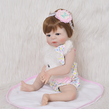 new bebe reborn menina Baby Reborn Dolls 57 cm girl Body Silicone Vinyl Newborn baby princess doll kids bath toy gift bonecas