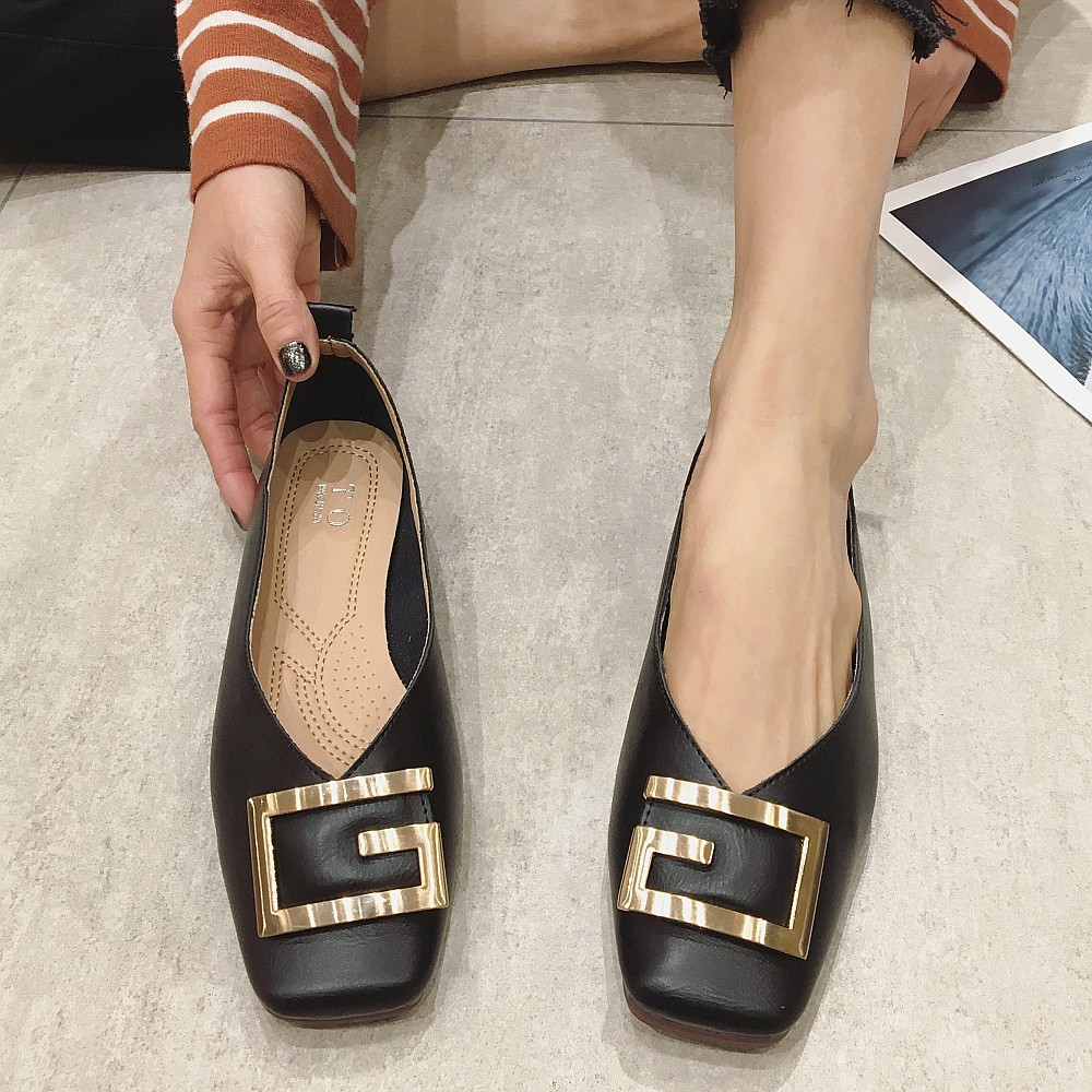 2020 Fashion Black Women Ballet Flats Shoes Spring Autumn Square Toe Metal Button Females Woman Comfortable Ladies Single Shoes