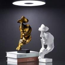 Modèle de visage en résine européenne, décoration de maison, le Silence est en or, Statue d'art, ornement de cave à vin, Sculpture abstraite, décoration de bureau