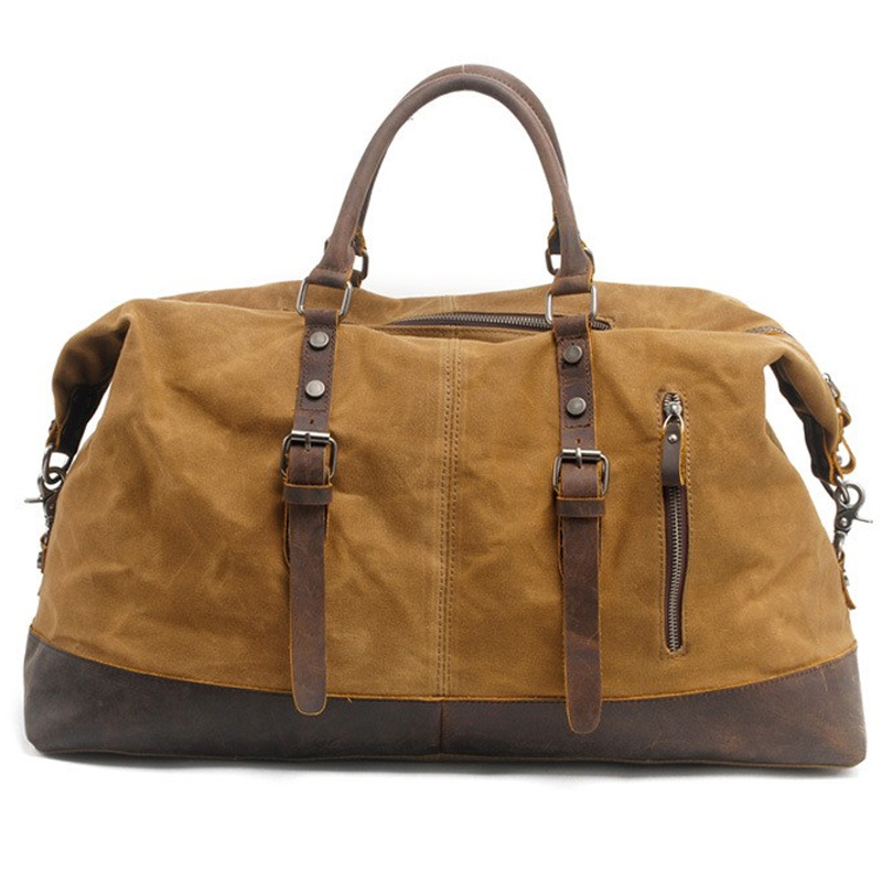 Vintage Waxed Canvas Men Travel Duffel Large Capacity Oiled Leather Weekend Bag Basic Holdall Tote Overnight Bags Khaki
