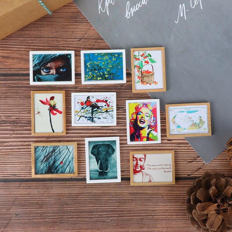 Миниатюрная винтажная фоторамка из смолы 1/12, настенная живопись для кукольного домика, кукольного домика, гостиной, спальни, Декор, игрушки